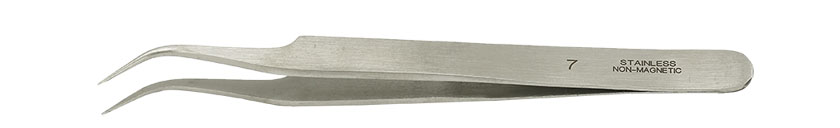 Value-Tec 7.NM general purpose tweezers, style 7, curved fine tips, non-magnetic stainless steel